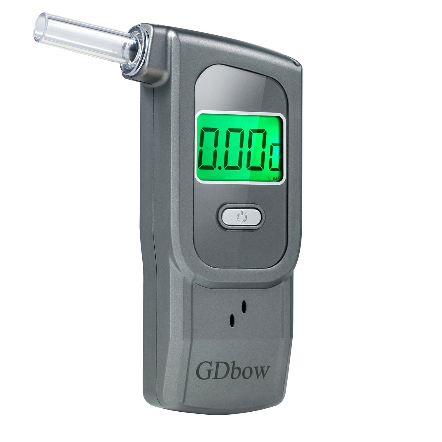 GDbow Portable Breathalyzer Alcohol Tester Recording 32 Testing Results with 5 Mouthpieces for Personal Use -Grey