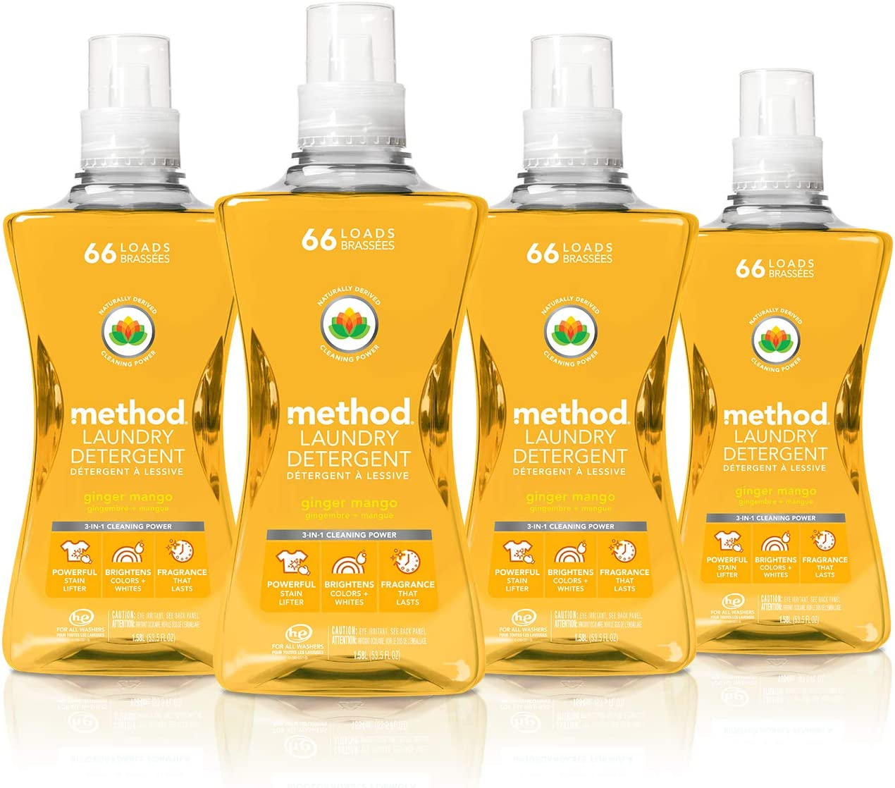 Method Concentrated Laundry Detergent, Ginger Mango, 53.5 Fl Oz (Pack of 4)
