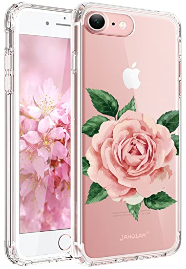 half off c3fd0 e02d6 JAHOLAN Cute Girl Floral Design Clear TPU Soft Slim Flexible Silicone Cover  Phone Case Compatible with iPhone 7 iPhone 8 - Big Pink Rose Multilayer