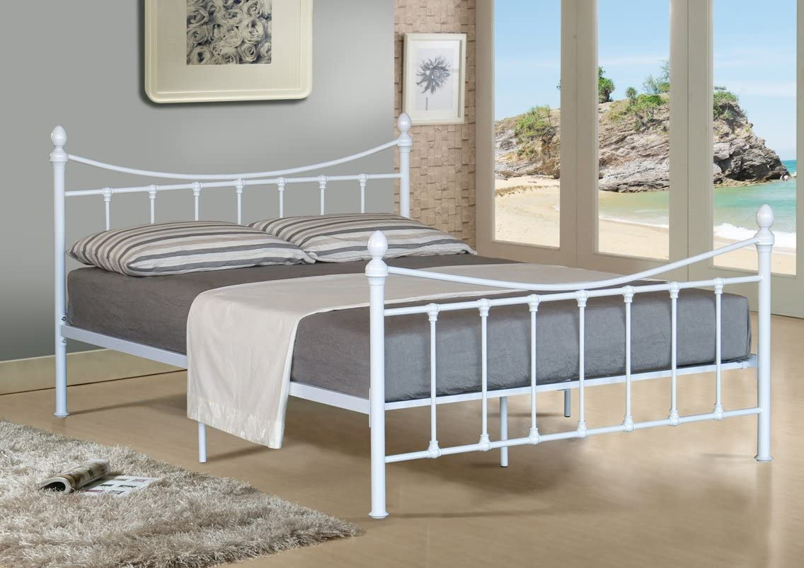 5 pies King tamaño Marco metálico para Cama en Color Blanco con colchón para somier