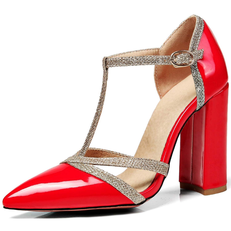 Rongzhi Femmes Bloc Talons Talons Sandales B001949G88 19997 Cuir Cheville T-Sangle Bout Pointu Robe Partie Chaussures Brillant Cuir Verni Rouge dba096e - automaticcouplings.space