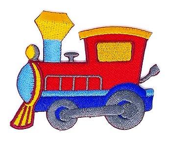 3.0 pulgadas x 2,5 pulgadas Rojo tren Choo Choo Cartoon bordado Sew hierro en. Pasa ...