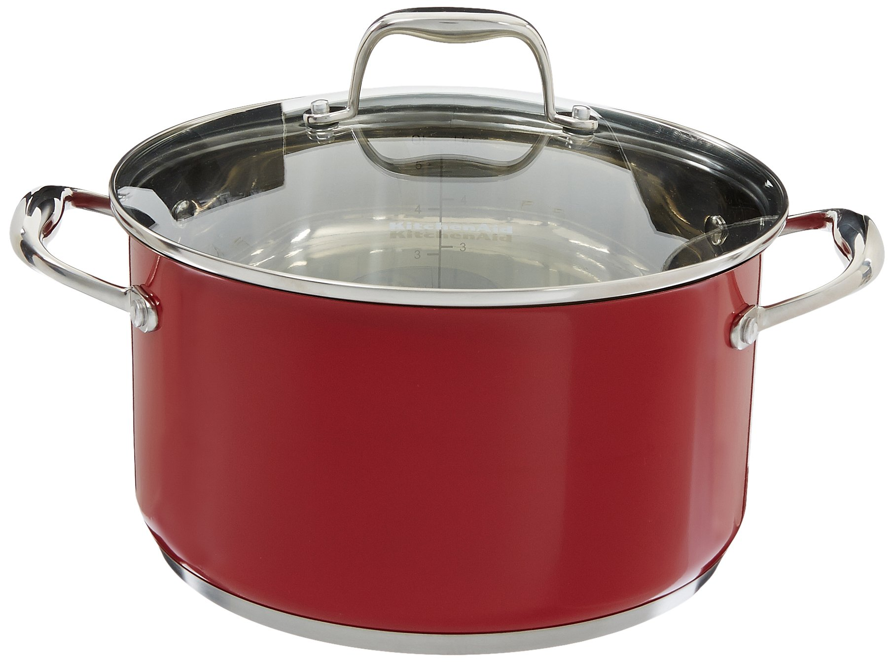KitchenAid KCS60LCER Stainless Steel 6.0-Quart Low Casserole with Lid Cookware - Empire Red
