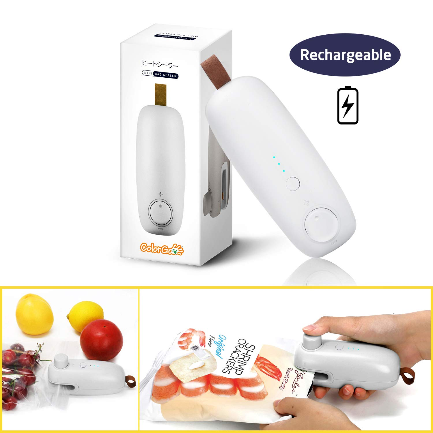 ColorGo Rechargeable Potato Chip Bag Sealer, USB Hand Held Mini Plastic Bag Heat Resealer for Food Storage [Patent Protect] by ColorGo