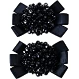Douqu Grosgrain Ribbon Bow Fashion Hand Beaded Crystal Shoe Clips Charms Pair Black Champagne Red Pink (Black)