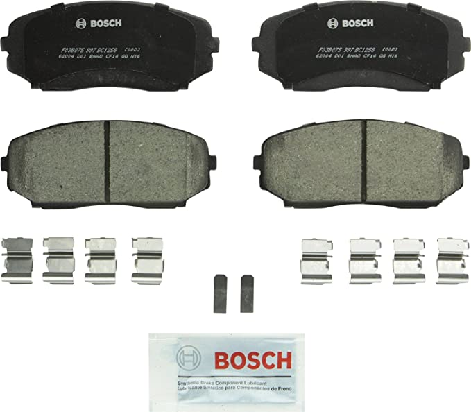 CX-9 Bosch BE1259H Blue Disc Brake Pad Set with Hardware For Ford Edge; Lincoln MKX; Mazda CX-7 Rear