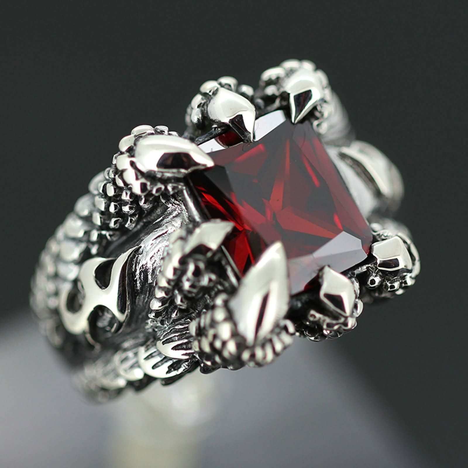 Bishilin Rings for Men Silver Plated Paw with Rectangle Red Gem Partner Rings Silver Size 10 by Bishilin (Image #1)