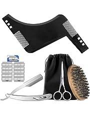 Hifot Barba Kit, Juego de recorte de barba para el cuidado de los hombres, Herramienta para moldear barba, Cepillo, Maquinilla de afeitar, Juego de regalo de barba de tijera