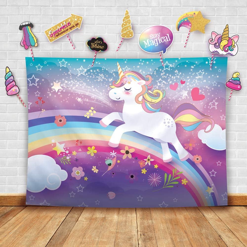 Unicorn Party Backdrops 4.5×6 Ft