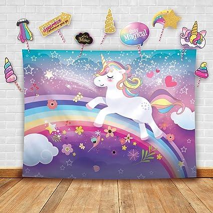 Magical unicornio tema fotografía fondo y estudio Props DIY Kit Ideal como fondo de la foto del portón, decoración de fiesta de cumpleaños arcoíris y ...