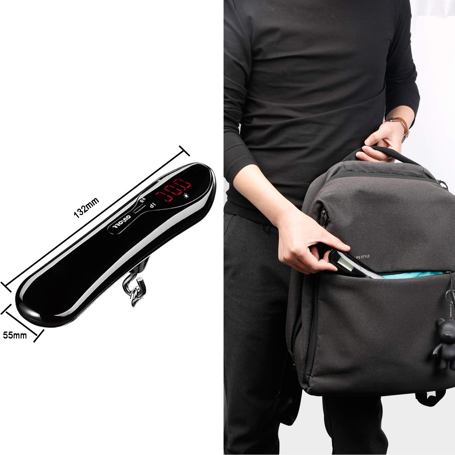 110LB Portable Digital Suitcase Weighing Scale for Travel Black Luggage Scale