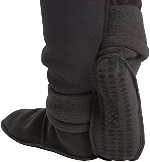 product image for Janska MocSocks - Double-Bottom, Non-Skid Fleece Slipper Socks – Warm and Cozy Booties - Unisex – Medium, Heather Gray