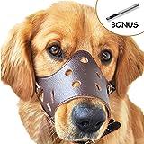 Dog Muzzle Leather, Adjustable Anti-biting Dog Leather Muzzle, Breathable Safety Pet Puppy
