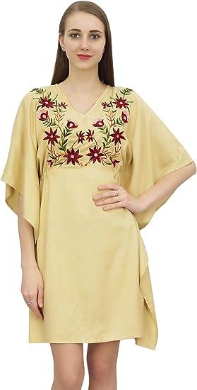 Bimba Short Midi Dress Beach Beach Dress Swimsuit Cover up Womens Kaftan