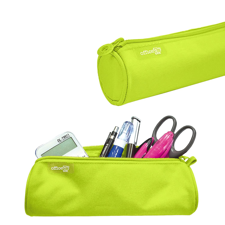 Colorline 59511 - Porta Todo Redondo, Estuche Multiuso para Viaje, Material Escolar, Neceser... Color Verde Lima, Medidas 22 x 6 x 6 cm PracticOffice