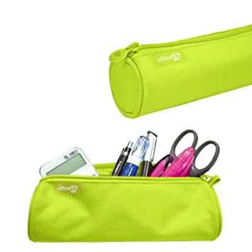 Colorline 59511 - Porta Todo Redondo, Estuche Multiuso para Viaje, Material Escolar, Neceser... Color Verde Lima, Medidas 22 x 6 x 6 cm