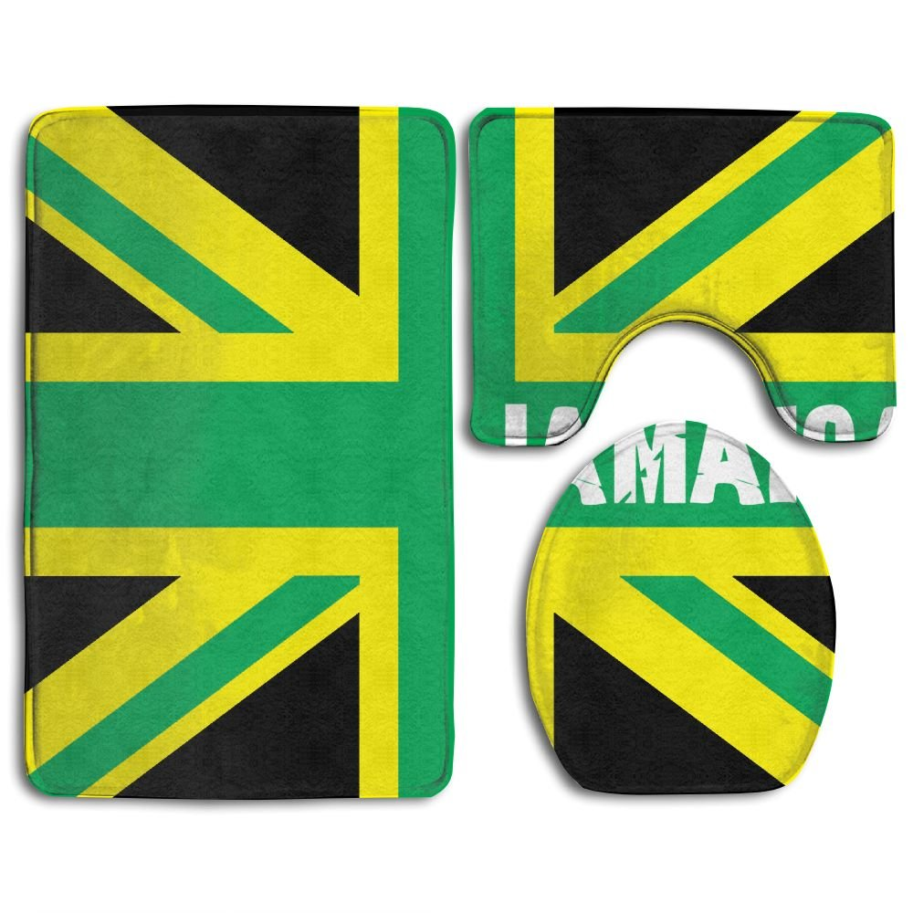 HYEECR Jamaican Kingdom Flag Non-Slip 3 PCS Bathroom Rug Mats Set, Shower Mat And Soft Toilet Cover Mat, Anti Slippery Rug For Family Men Women Kids, Bathroom Accessory Sets