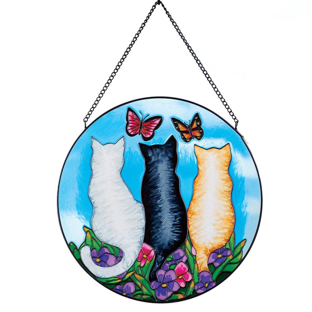 Collections Etc Cat Trio in Garden Colorful Glass Suncatcher
