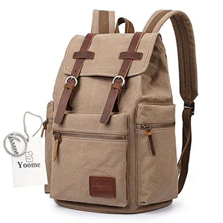 Yoome Flap Buckle Canvas Backpack For Teen Boys Rucksack 14 Inch Laptop  Dayback Travel College Hiking Camping Mountaineering Weekend Bag - Khaki   ... c33f0d80194fa