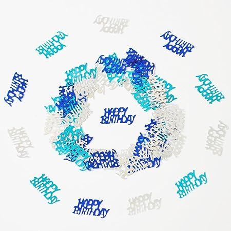 Occasioni Speciali FESTIVIT/À Festa 1000 Pezzi 50g Foglio Metallico Parole Lettere Buon Compleanno Coriandoli per Compleanno Combinazione Blu Argento Anniversario di Matrimonio