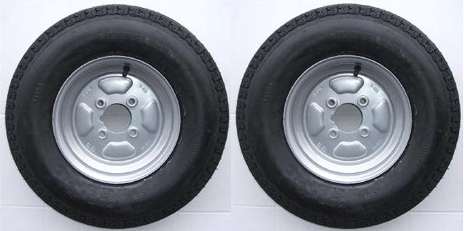 A pair of 500 x 10 inch trailer wheels and tyres with 4 ply tyre and 4 inch PCD Pt no. LMX1600 Leisure Mart