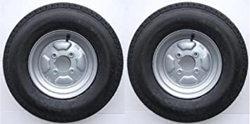 A pair of 500 x 10 inch trailer wheels and tyres with 4 ply tyre and ...