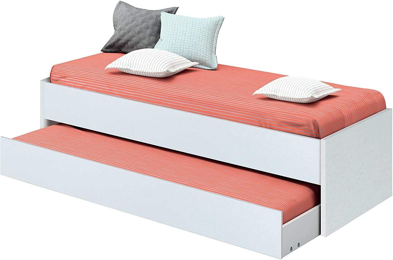 Cama Nido de Dormitorio Juvenil Color Blanco Brillo, somier ...