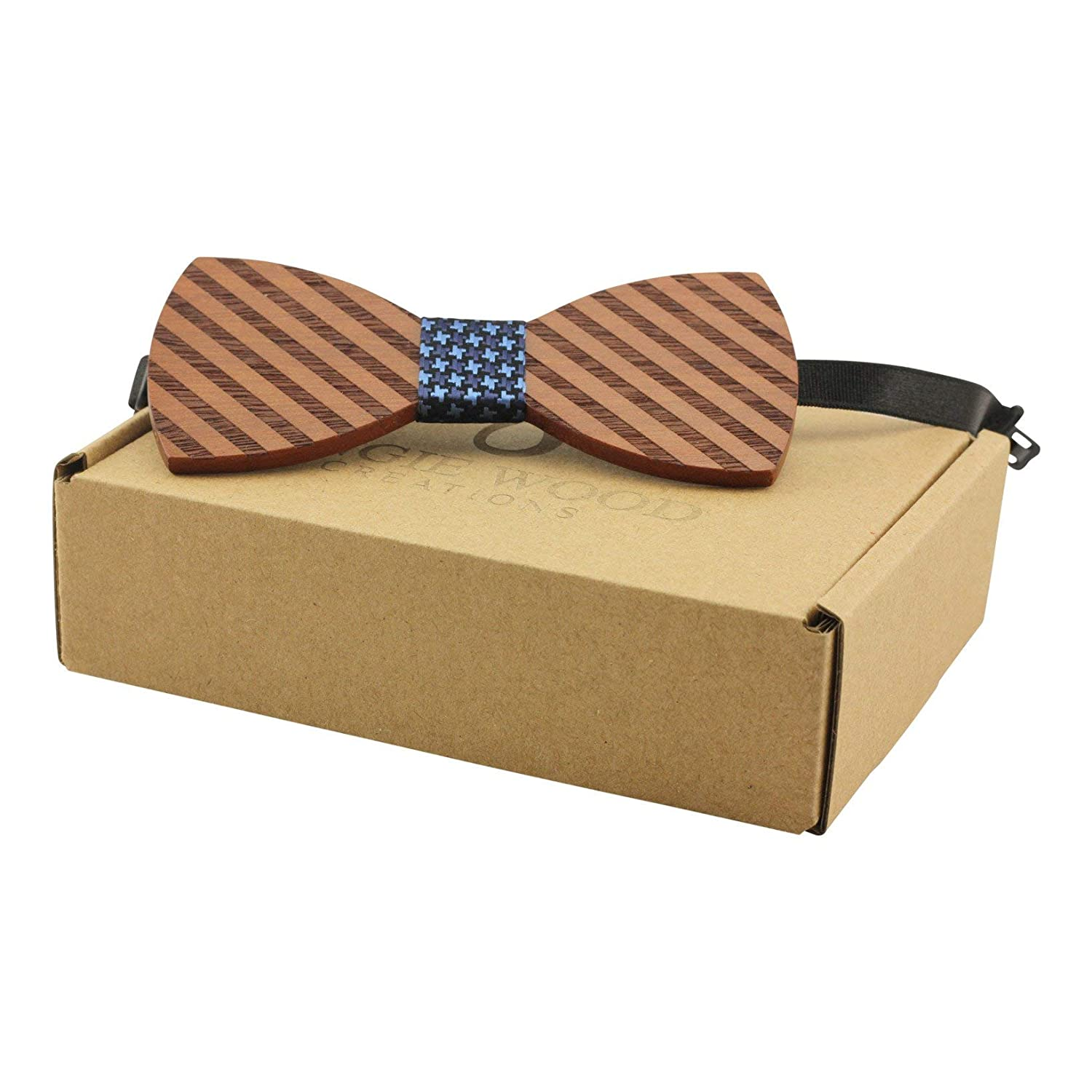 Striped Red Sandalwood Bow Tie With Adjustable Neckband
