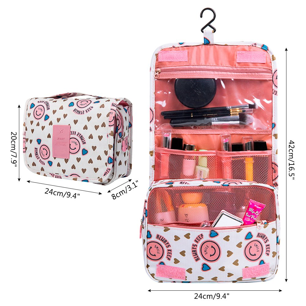 Vox Portable Cosmetic Bag Waterproof Organizer Women Girl Toiletry Travel Makeup Bag Hanging with Hook Lady, Pink