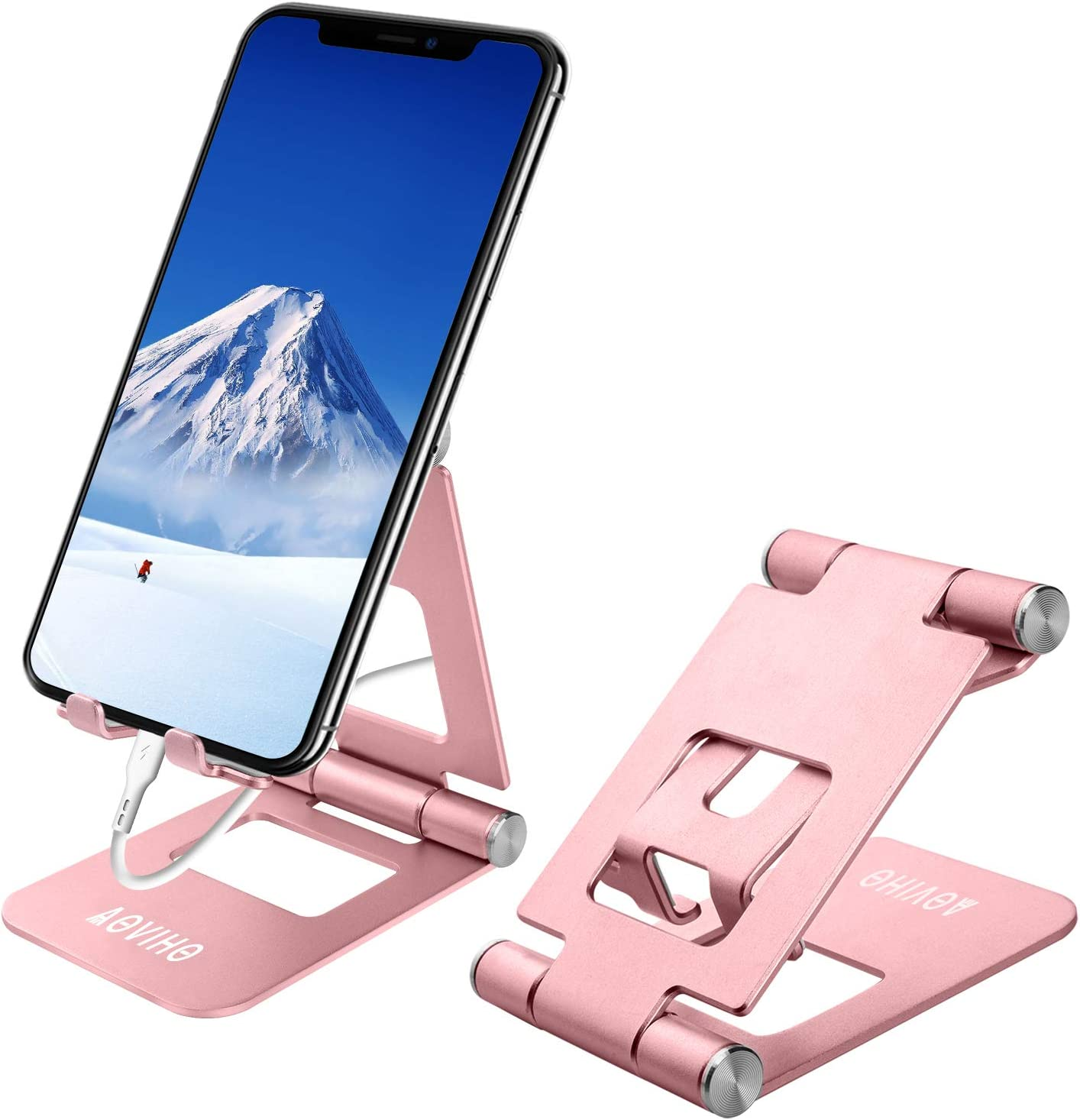 Cell Phone Stand Adjustable, Aoviho Desktop Phone Holder Aluminum Portable Phone Dock Compatible with iPhone 5 6 7 8 11 Pro 12 Mini X XR XS Max Samsung Desk Nightstand Decor (Rose Gold)