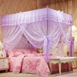 Mosquito Net Bed Canopy-Lace Luxury 4 Corner Square Princess Fly Screen, Indoor Outdoor(Purple, Twin)