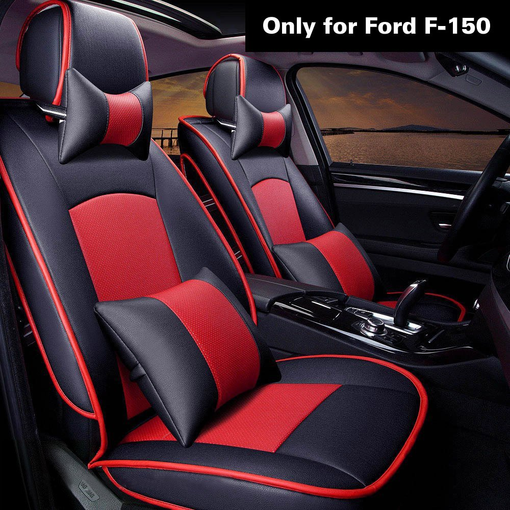 Super PDR Ford F-150 Car auto seat covers red 5 seats full set PU leather seat Cover cushion for Ford F-150, 2010-2015, BLACK& RED