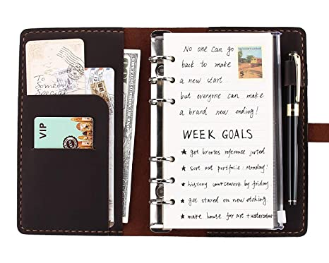 Genuine Leather Journal Writing Notebook, A6 Ring Binder Refillable Diary Notepads, Vintage Handmade Travel Organizer Agenda for Men Women – Coffee