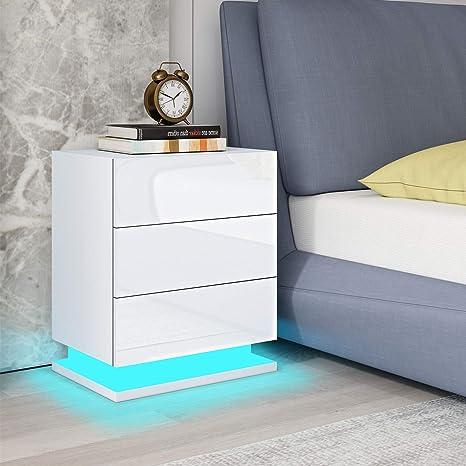 RGB LED Nachttisch Kommode Hochglanz Nachtschrank Beistelltisch mit 2 Schubladen