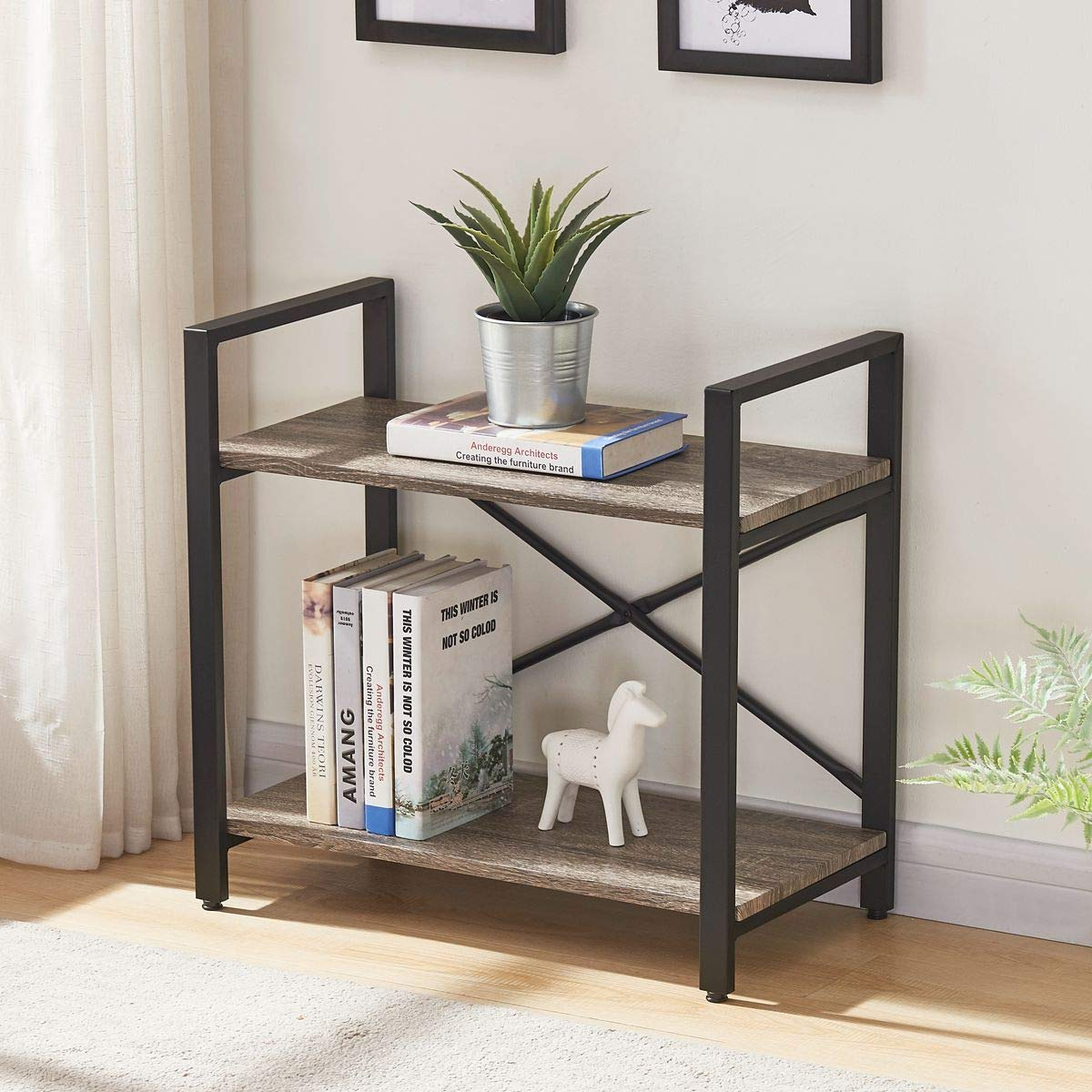 BON AUGURE Small Bookshelf for Small Space, 2 Shelf Low Metal Bookcase, Industrial Shelving Unit with Short Shelves, Dark Oak