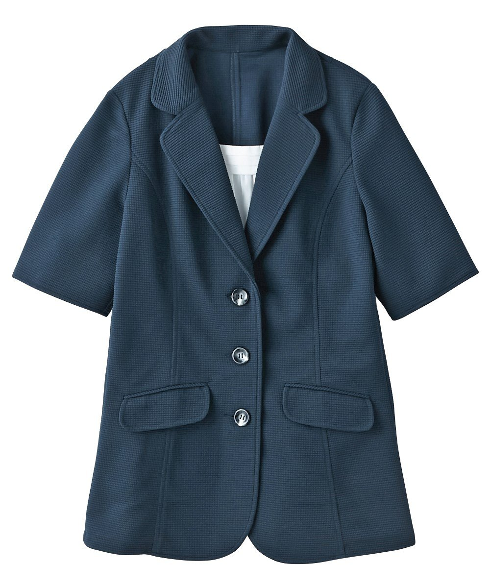 [nissen(ニッセン)] 前当て付5分袖カットソーテーラードジャケット 大きいサイズ レディース B07D8N9SZL 34号 ネイビー ネイビー 34号