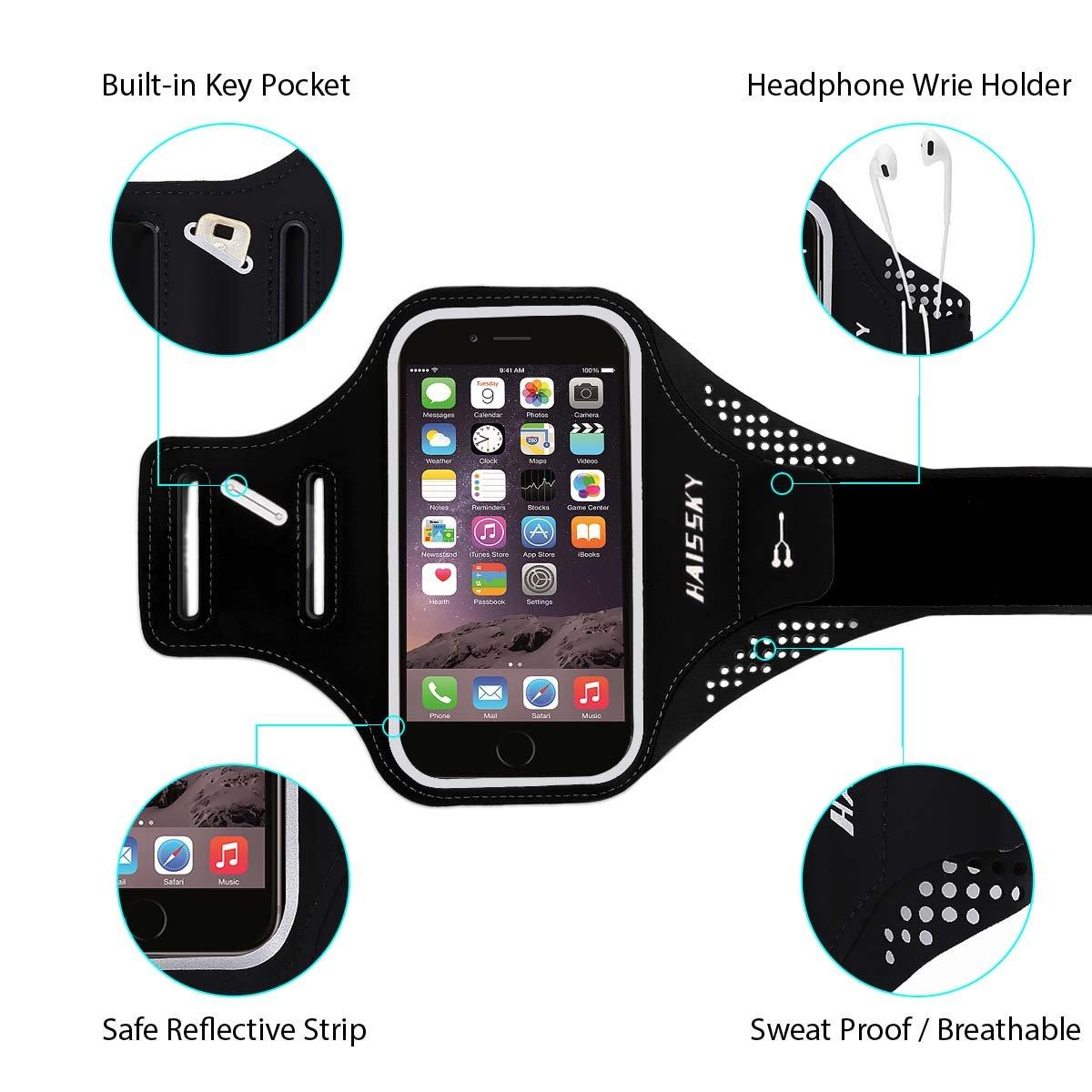 Correa de Brazalete Ideal para Correr Samsung Andar en Bicicleta dise/ño de Banda Impermeable y Reflectante Huawei y Otros Smartphones hasta 5.2 Senderismo con su iPhone