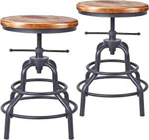Diwhy Industrial Vintage Bar Stool,Kitchen Counter Height Adjustable Screw Stool,Swivel Bar Stool,Metal Wood Stool,27 Inch,Fully Welded Set of 2 (Wooden Top)