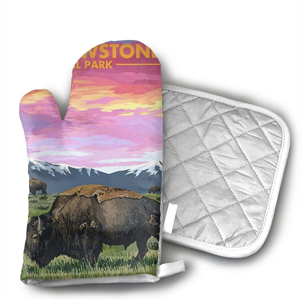 HGUIDHG Yellowstone National Park Oven Mitts+Insulated Square Mat,Heat Resistant Kitchen Gloves Soft Insulated Deep Pockets, Non-Slip Handles