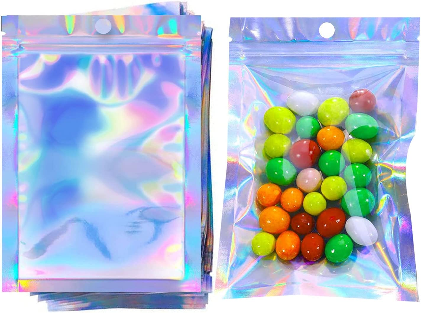 COQOFA 100Pcs 5x7 Inch Smell Proof mylar Bags Resealable Holographic Bags Flat Clear Foil zip lock Pouch Bags for Food Storage Gloss Eyelash Jewelry Electronics Storage