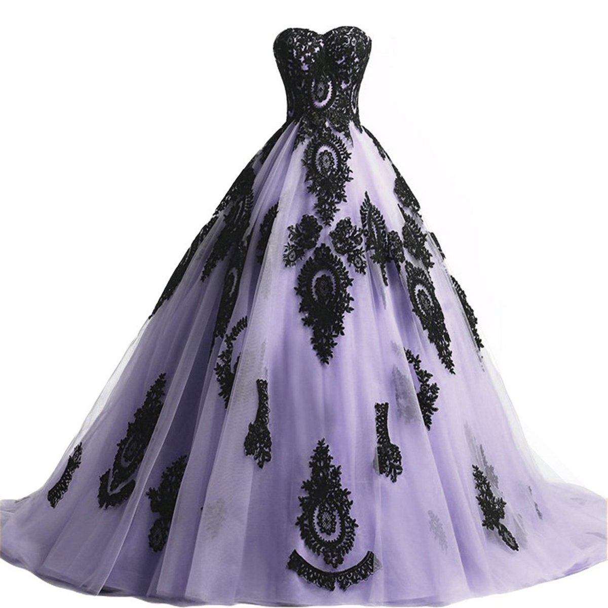Lavender Miao Duo Women's Long Strapless Tulle Wedding Dresses Black Lace Brial Quinceanera Ball Gown W01