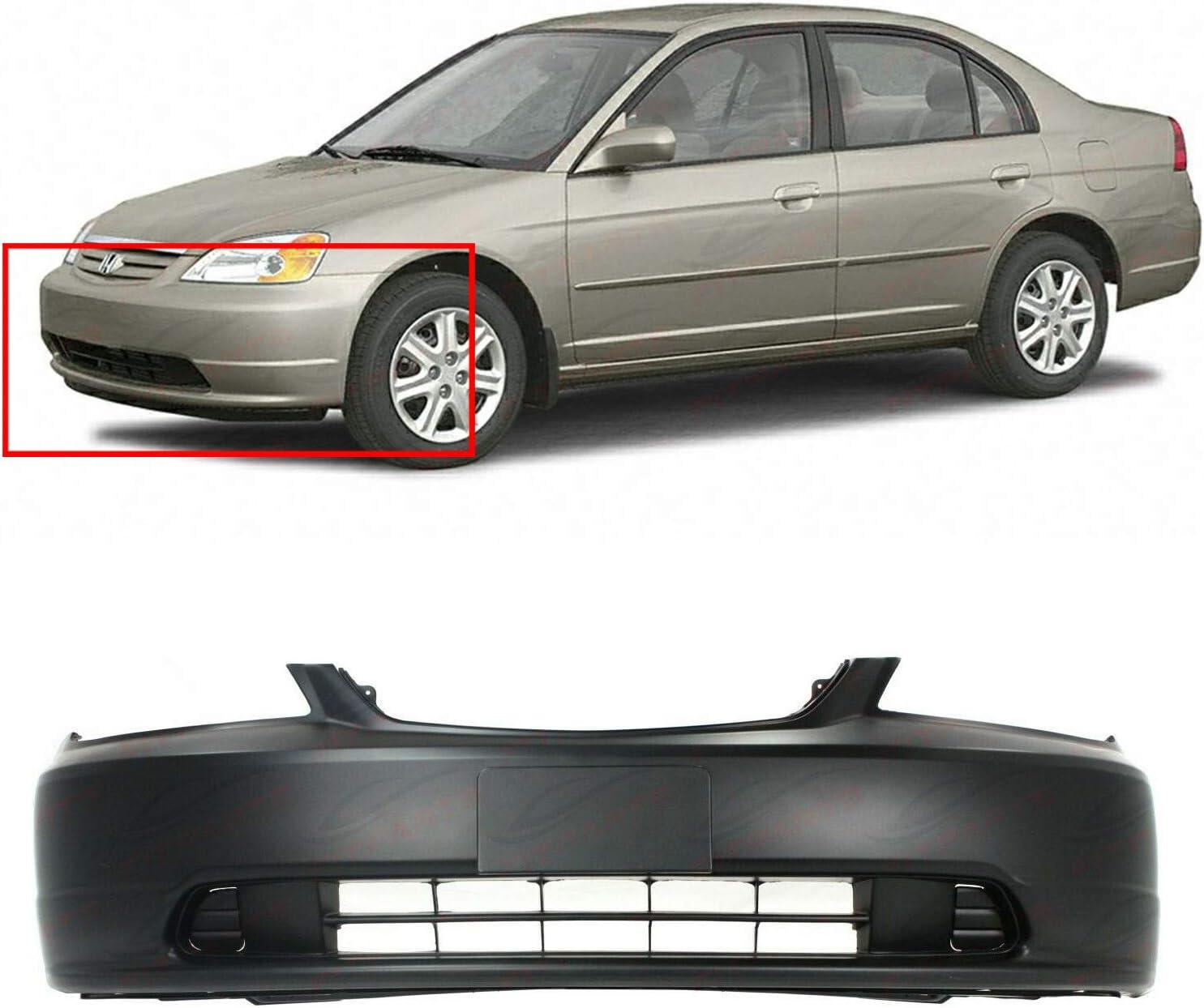 Primed Front Bumper Cover Fascia for 2001-2003 Honda Civic Coupe Sedan HO1000197