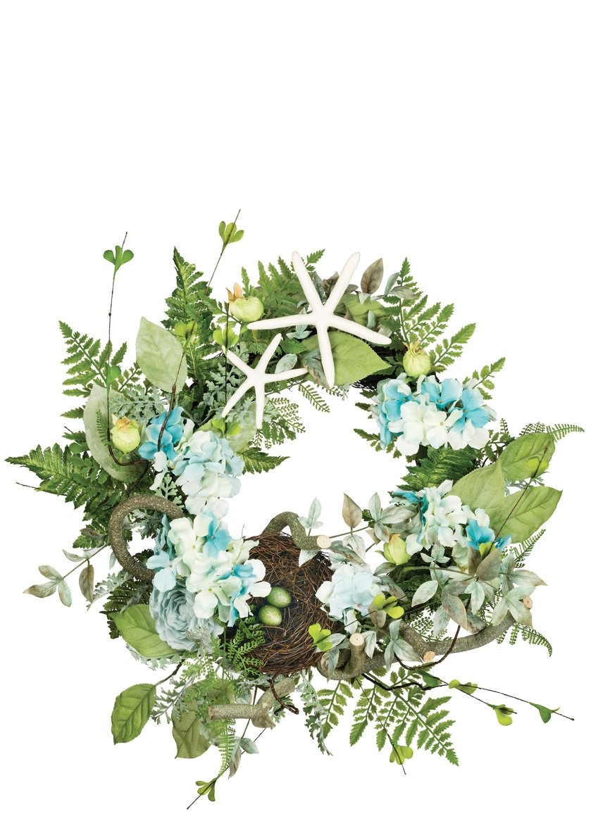 Sullivans HFNWR Hydrangea Fern, Beach Ocean Theme Decorative Everyday Artificial Floral Wreath, Multicolored, 24 Inch