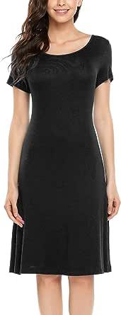 ELESOL Women Simple Designed Short Sleeve Round Neck Casual Flared Midi Dress
