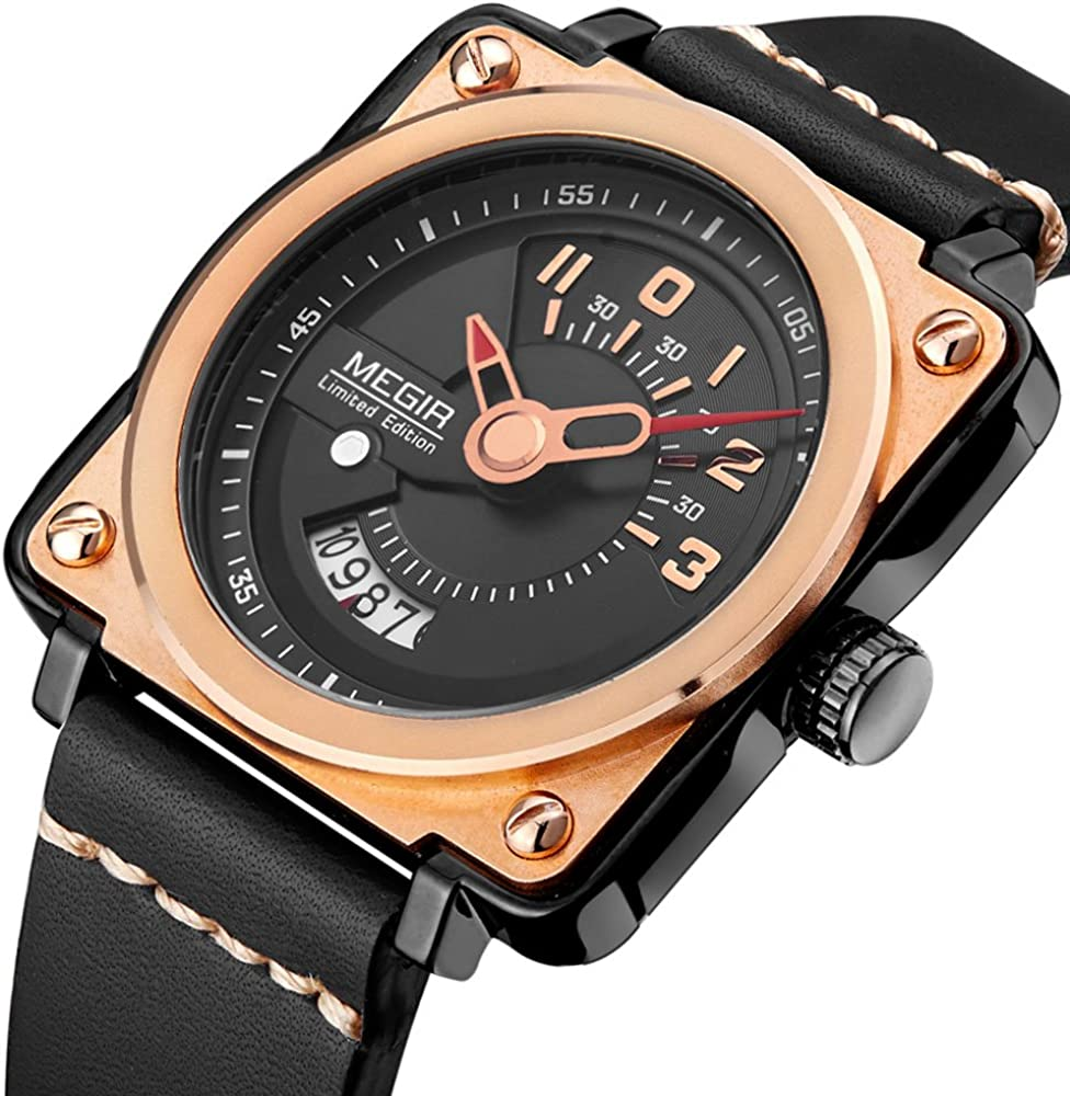 Men s Analog Quartz Wrist Watches Square Dial Display Leather Strap Waterproof Wristwatch for Man