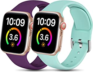 Dirrelo Compatible for Apple Watch Band 44mm 42mm iWatch SE & Series 6 5 4 3 2 1 Bands, 2-Pack Soft Silicone Replacement Wrist Bands Strap for Women men, Small Dark Purple & Mint