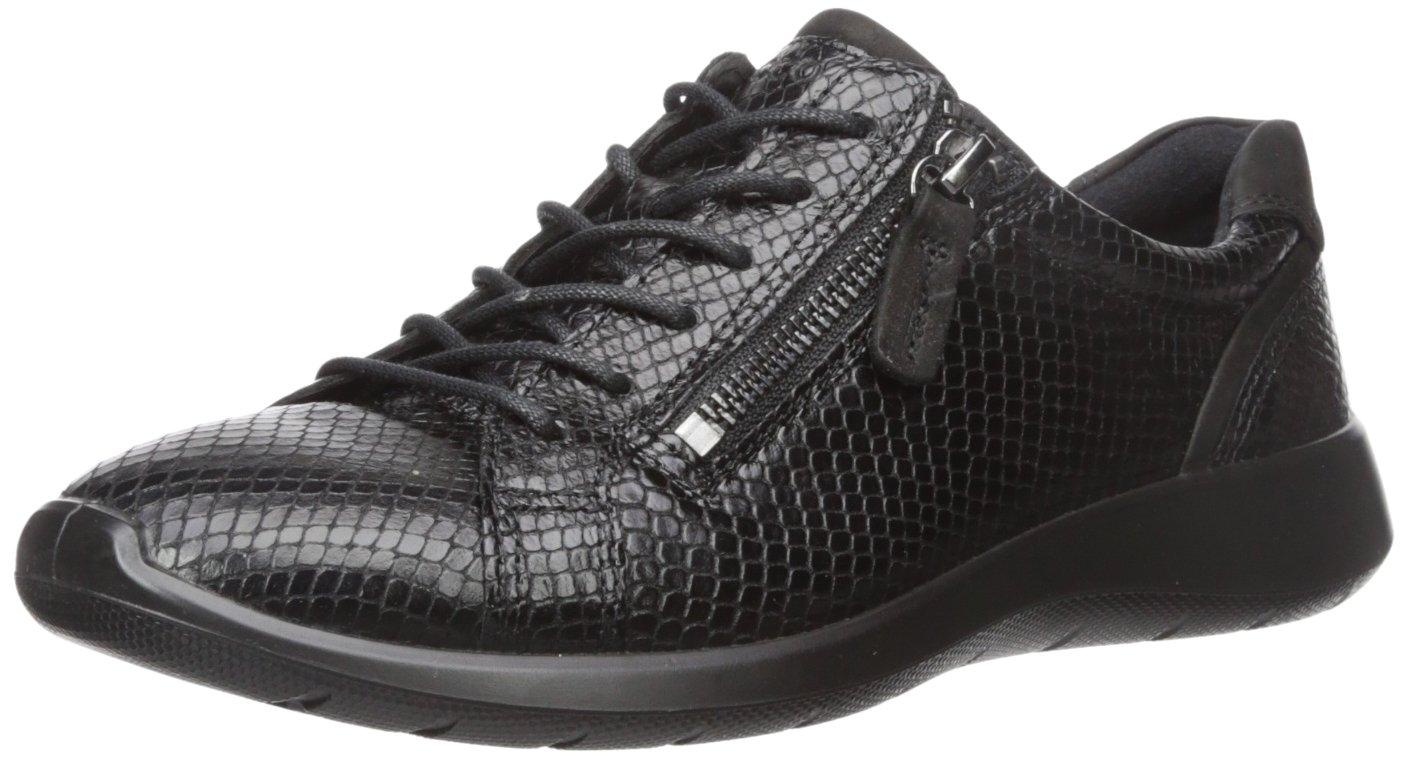 ECCO Women's Soft 5 Side Zip Fashion Sneaker B01M3U32AG 43 EU / 12-12.5 US|Black/Black
