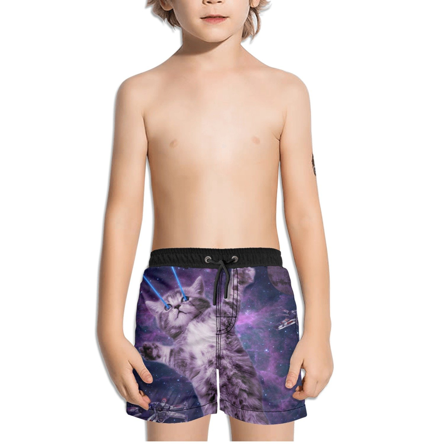 FullBo Explore Galaxy Cat Little Boys Short Swim Trunks Quick Dry Beach Shorts