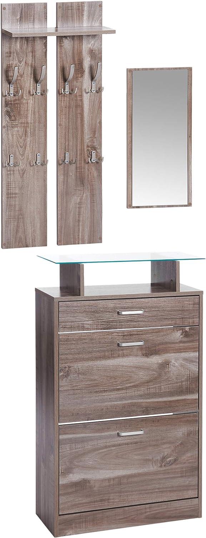 Rovere Sonoma ts-ideen Parete attrezzata da Ingresso Stile Moderno Specchio e Doppio Appendiabiti