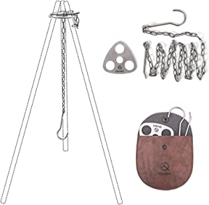 Xergur Stainless Steel Camping Tripod Board - Turn Branches into Campfire Tripod, Campfire Support Plate with Adjustable Chain for Hanging Cookware - Perfect Accessories for Outdoor Cooking